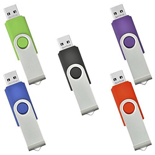 5 Pièce Clé USB 2 Go Mémoire Flash Rotation Disque USB 2.0 (Couleur Mixte: Rouge Vert Noir Bleu et Violet)
