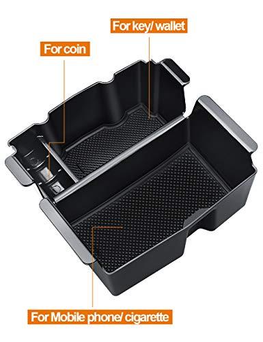 LIBERRWAY Center Console Organizer for Jeep Wrangler JL/JLU (2018-19) Jeep Gladiator Truck (2020) Organizer Tray Armrest Box Secondary Storage, Black (OrganizerTray)