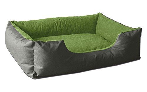 BedDog® Hundebett LUPI, Hundesofa aus Cordura, Microfaser-Velours, waschbares Hundebett mit Rand, Hundekissen Vier-eckig, für drinnen, draußen, XL, Green-Rock, grau-grün