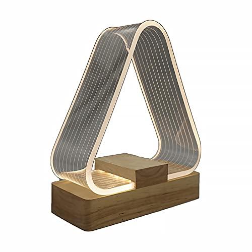 SUNASQ Veilleuse LED en Acrylique, 2W USB Petite Lampe de Chevet au Design Unique, Lampe de Table en Forme de Triangle de Couleur Blanc Chaud avec Base en Bois de hêtre pour Le Salon de la Chambre.