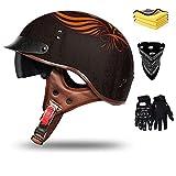 Casco de protección retro para motocicleta, diseño de casco para motocicleta, casco semiintegral, casco tipo scooter, casco semiintegral, casco de moto, Cruiser Chopper, homologación ECE (G,L)