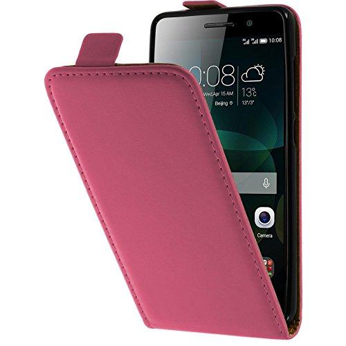 PhoneNatic Kunst-Lederhülle kompatibel mit Huawei Honor 4c - Flip-Hülle pink + 2 Schutzfolien