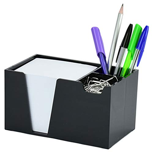 Acrimet Desktop Organizer Pencil Paper Clip Caddy Holder (Plastic) (with Paper) (Black Color)