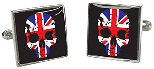 Schwarz / Rot / Blau Union Jack Skull Manschettenknöpfe von Tyler and Tyler