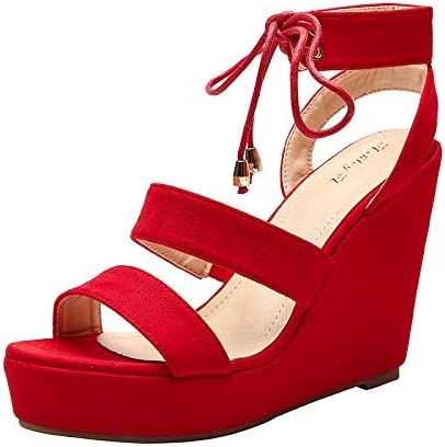 Year-end annual account 25% OFF Ashley A Women's AA-Elisa Ankle Strap Platfor Open Toe Up Lace