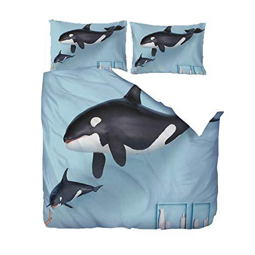 ZZZXX Funda De Edredón 3D Orca Animal De Mar Azul Sin Costura Algodón-Poliéster Juego De Edredón para Niños/Adolescentes/Adultos Tamaño Queen 1 Funda Nórdica +2 Funda De Almohada 50X75Cm,220X230