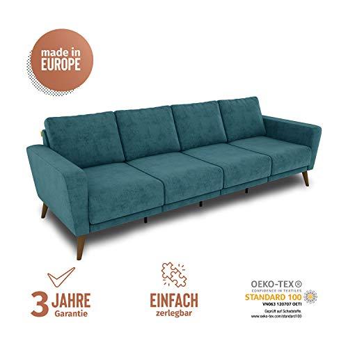 KAUTSCH Lotta Viersitzer Sofa für Wohnzimmer zerlegbar - Couch 4-sitzer - Polstersofa groß - B 260 cm - ohne Longchair - Petrol - Holzfüße Farbton Nussbaum