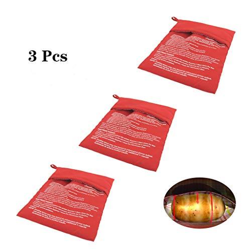 Formemory 3 Stück Kartoffel Express Kartoffel Tasche Backen Tool Kartoffel Mikrowelle Beutel für Microwelle Kochtasche Tortillas Maiskolben Express Backen Werkzeug (Rot)