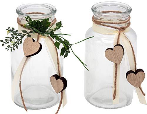 ZauberDeko 2 Vasen Hochzeit Vintage Tischdeko Gläser Herz Deko Geburtstag Anna