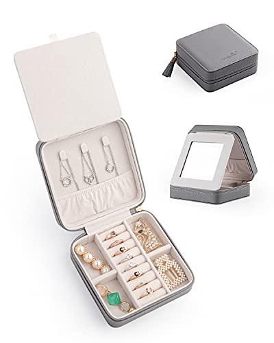 Caja organizadora de viaje pequeña de joyería con cuero de la PU portátil de almacenamiento de la joyería para collar anillos pendientes, regalos para novia, (gris2)