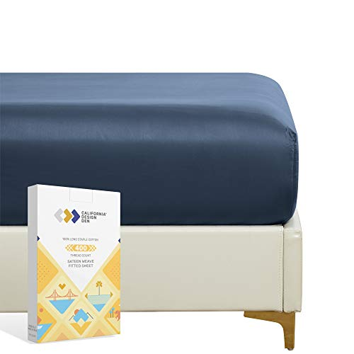 California Design Den 400 Thread Count 100% Cotton 1 Fitted Sheet Only, Indigo Navy Blue Full Fitted Sheet, Long - Staple Combed Pure Natural Cotton Sheet, Soft & Silky Sateen Weave