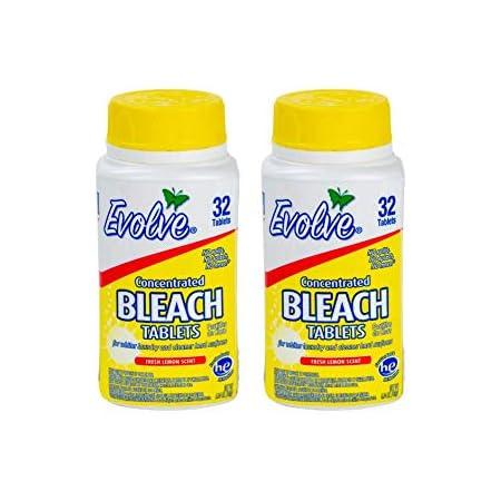 Evolve Concentrated Bleach Tablets, 32 Tablets (Pack of 2 Fresh Lemon)