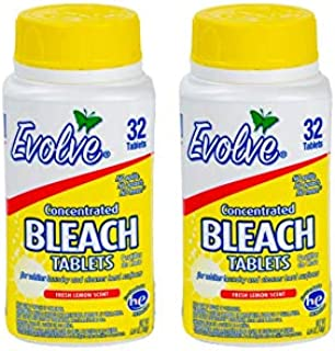 Evolve Concentrated Bleach Tablets - 32-ct (Pack of 2 Fresh Lemon)