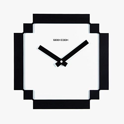 MEILING Noir et Blanc Personnalité Créative Art de la mode Muet suspendu Horloge Salon Chambre Décoration Suspendue Table Quartz Carré Horloge
