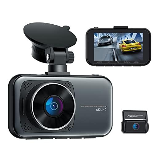 Dual Dashcam Vorne und Hinten Infrarot Nachtsicht, 4K 3840x2160P Vorne Dash Cam mit Hardwire-Kit für 24/7 Parkmodus, Autokamera mit Hitzebeständig Superkondensator, WDR, G Sensor Loop-Aufnahme