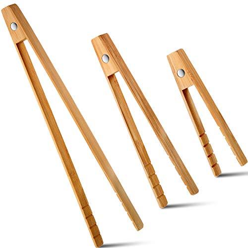 3 Größen Toaster Zangen mit Magnet Holz Bambus Magnetische Küche Kochen Servierutensilien für Brot Speck Muffin Bagel, 6/8/ 12 Zoll