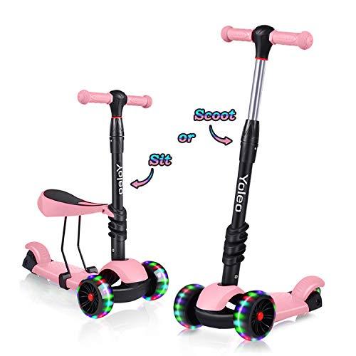 YOLEO 3-in-1 Kinder Roller Scooter mit Abnehmbarem Sitz, LED große Räder, Höheverstellbare Lenker für Kleinkinder Jungen Mädchen ab 2 Jahre (Rosa)