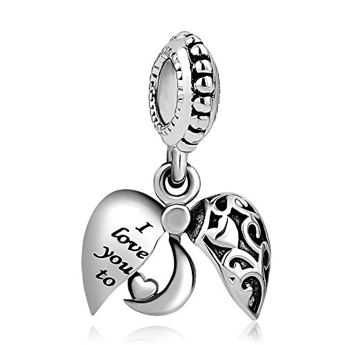 Heart I Love You To The Moon and Back Charm Beads For Bracelets