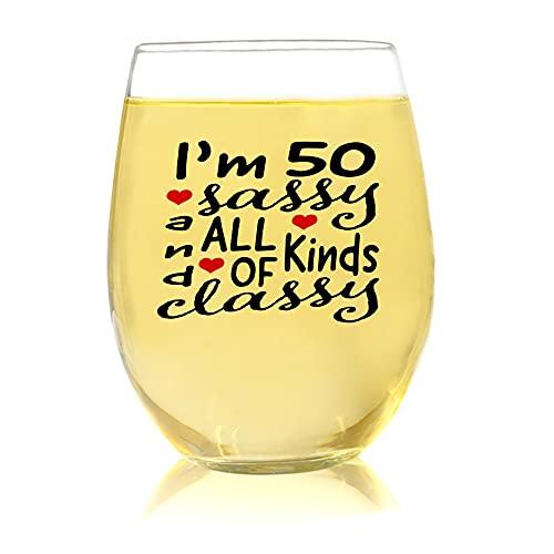 50 and Sassy, Unique Gifts For Women, 50th Birthday Wine Gifts For Her, Fabulous Gifts For Woman Who Has Everything, Funny Present For Mom, Aunt, Sister, Stemless Wine Glasses 15oz, Party Decorations