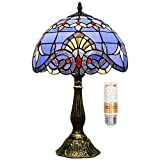 Tiffany Lamp W12H18 Inch Blue Purple Baroque Style Stained Glass Lavender Shade Antique Table Lamp Base Desk Reading Light Lover Living Room Bedroom Bar Art Craft Gifts Blivuself