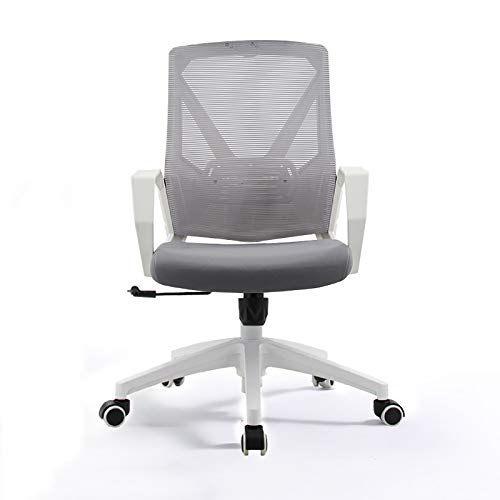 XINGLEI Office Chair, Desk Ergonomic Chair with Arms Back Support Mesh Chair, Compact 135° Locking 360° Rotation Seat Surface Lift Reinforced Nylon Base (Color : Gray, Size : Without headrest)
