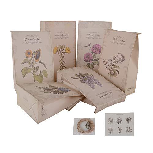 Wolfteeth 24 pz Sacchetti Regalo Carta Kraft Sacchettini 11.8 x 5.7 x 21.7 cm per Matrimonio Battesimo Compleanno Alimenti Dolci Caramella