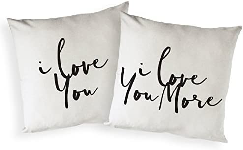 The Cotton Canvas Co I Love You and I Love You More Home Decor Pillow Cover Pillowcase Cushion product image