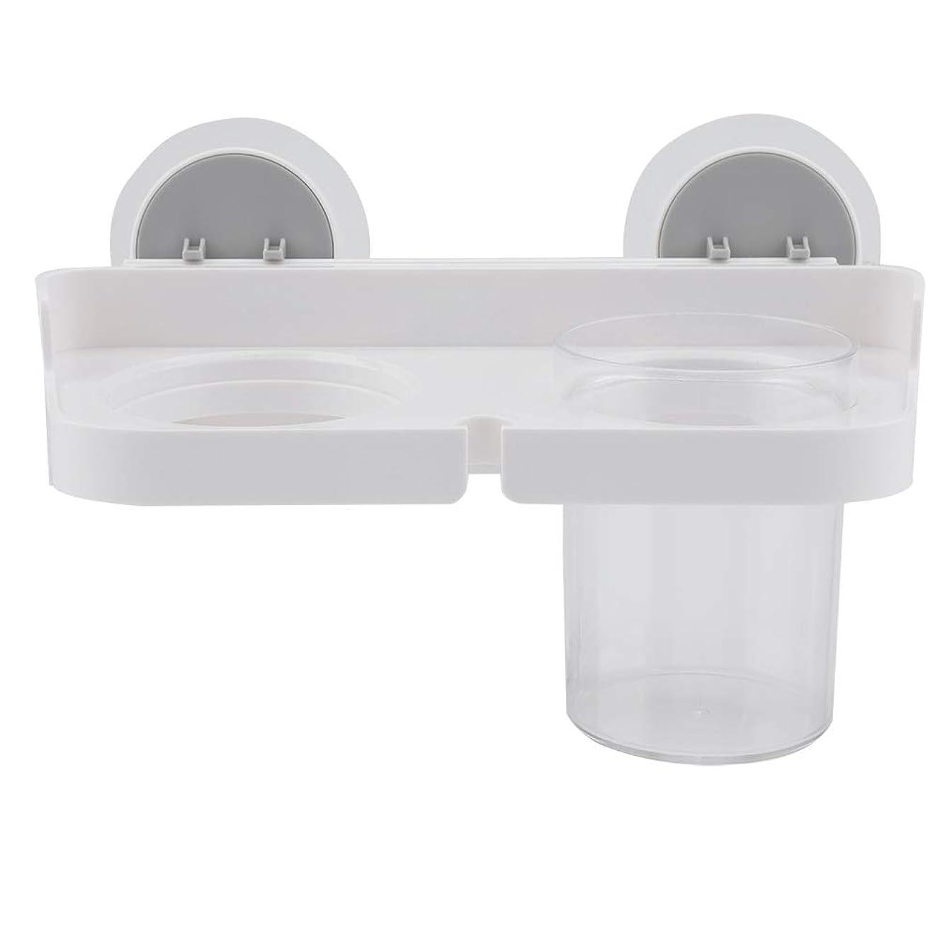 トランペット破裂拡張Salinr ヘアドライヤーホルダー収納オーガナイザー 多機能壁掛け 浴室収納ラックヘアドライヤー 歯ブラシホルダー付き カップ