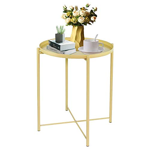 LeChamp Modern Metal End Table Round Removable Tray for Outdoor & Indoor Detachable Anti-Rust and Waterproof Tray Small Sofa Side Table for Living Room, Hallway, Bedroom, Garden, Balcony Yellow