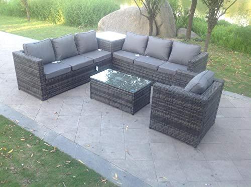 Fimous 7 Seater Grey Rattan Sofa Set Coffee Table Garden Furniture Outdoor