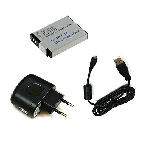 BG-akku24 Caricabatteria, batteria e cavo di ricarica, cavo dati, cavo USB per Nikon Coolpix S6200, S6300, S6500, S6600, S8000, S8200, S9200, S9300, S9400, S9500