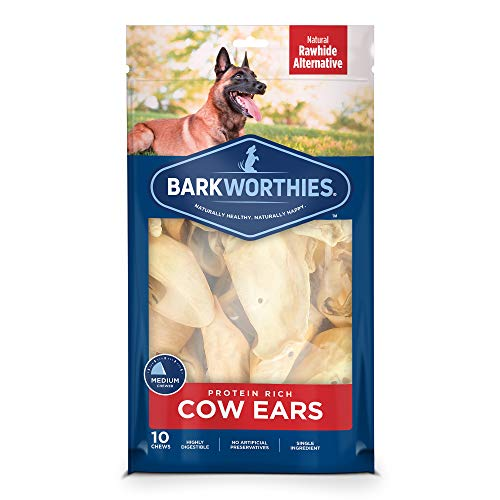 Barkworthies Protein-Rich Cow Ears (10 Chews) - All-Natural Rawhide Alternative - Highly Digestible Dog Chew - Gourmet, Healthy Dog Treats
