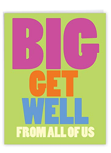 NobleWorks - Jumbo Get Well Greeting Card (8.5 x 11 Inch) - Beautiful Feel Better Soon, Group Notecard - Big Get Well From Us J3897GWG