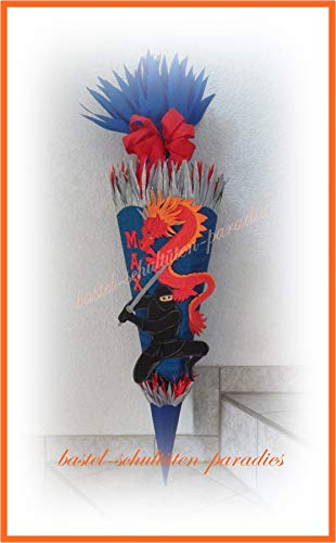 Schultüten Bastelset Ninja mit Drachen blau-rot