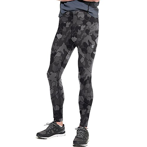 Champion Men's Double Dry Running Tight Print, Stormy Night/Faster Asteroid, Large