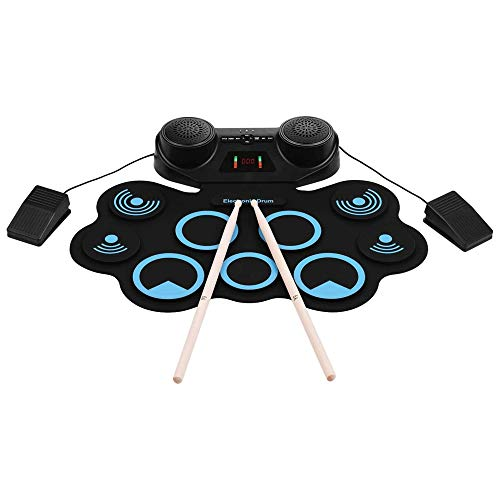 WCJ Portable Electronics Drum Set Roll Up Drum Kit 9 Silicone Pads with Foot Pedals Drumsticks USB Cable Built-in Speaker Recording