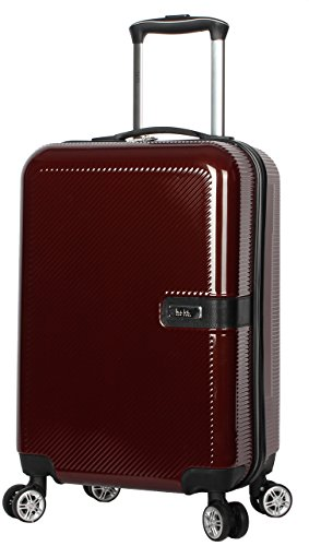 Nicole Miller New York Ria 20 Inch Carry on Collection - Scratch Resistant (ABS + PC) Hardside Luggage - Lightweight Suitcase with 8-Rolling Spinner Wheels (20 in, Ria Burgundy)