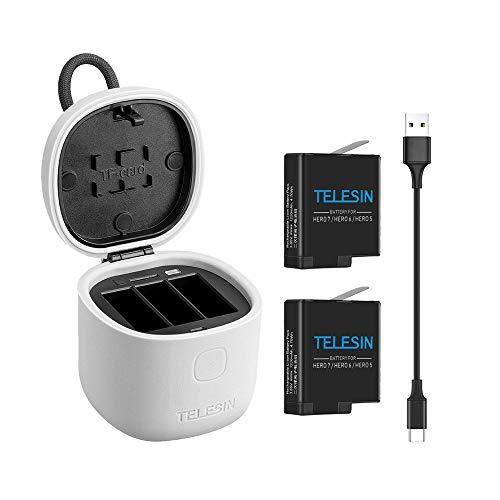 Docooler TELESIN Allin box-camera-accu-opladerkit met 2 PC-batterijen ondersteunt opslag + laden + TF-kaartlezer draagbare laadkast voor GoPro Hero 5/6/7 zwart