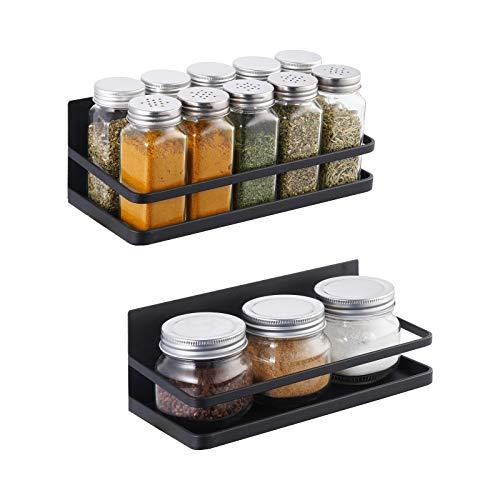 Amazon Brand - Umi Especiero Cocina Magnético para Especiero Refrigerador de Cocina Botes Estante Soporte Especias Negro Mate Organizador Metal 2 Piezas, KRR502-BK-P2