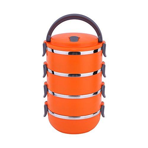 Yosoo - Fiambrera térmica portátil, acero inoxidable, con aislamiento interno térmico hermético, 3compartimentos y asa, naranja, 4 Layer