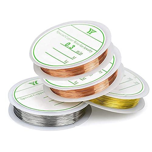 3 rollos de alambre de cobre Alambre de cobre para joyería Alambre artesanal para fabricación...