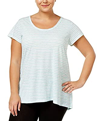 Calvin Klein Performance Women's Plus Size Striped T-Shirt (Jamaica Blue, 2X)