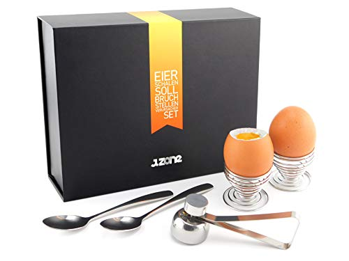 J.ZONE Edelstahl Eierschalensollbruchstellenverursacher Set   1x Eierköpfer inkl. 2x Eierhalter und 2x Löffel in edler Geschenkbox
