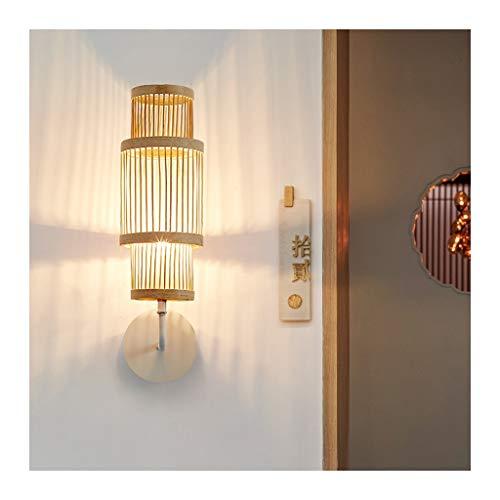 Wandlamp. Wandlamp, E27 lichtbron LED creatieve minimalistische bamboe woven wandlamp, creatieve Japanse kunst eenvoudig kamer kunst bamboe lamp spiegel voorlamp wandlamp