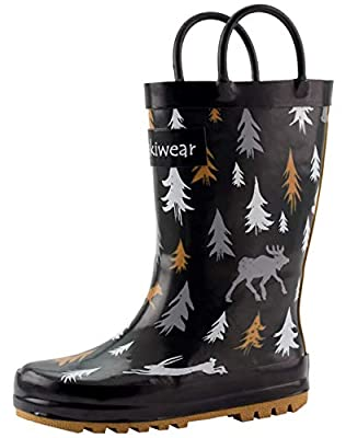 OAKI Kids Rubber Rain Boots Easy-on Handles, Wildlife Tracker, 12T