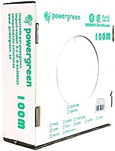 Powergreen CAB-05100-BU Bobina de Cable Cat 5E Utp 100 Metros PVC Caja 24 Awg