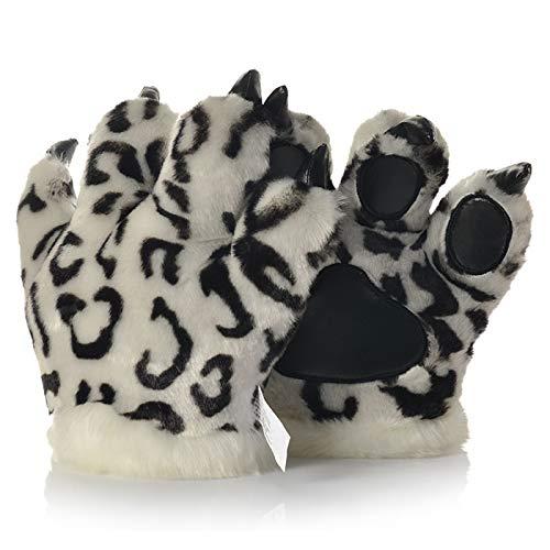 LANFIRE Tierpfote Klaue Hand Handschuhe Fluffy Künstliche Tiger Pfote Handschuhe Leopard claw dinosaurier klaue bär claw Handschuhe Party Bühne Leistung Kostüm Für Kinder Erwachsene (Schneeleopard)