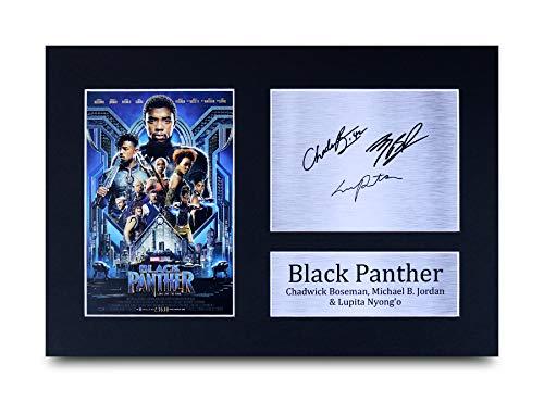 HWC Trading Black Panther The Avengers A4 Ungerahmt Signiert Gedruckt Autogramme Bild Druck-Fotoanzeige Geschenk Für Chadwick Boseman Michael B. Jordan Lupita Nyong'O Filmfans