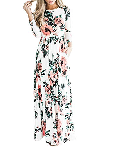 YOUCOO White Dress Floral Print Maxi Dress Short Sleeve Pockets Long Casual Dress