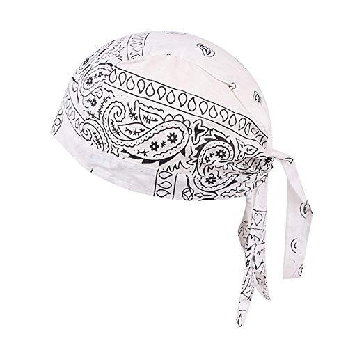 WFZ17 Baumwoll-Mütze, Helmeinlage für Radfahren, Bandana, Kopf-Wickel, Chemo-Hut für Männer und Frauen, Unisex, weiß, Einheitsgröße